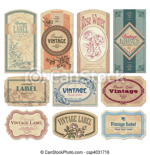 årgång, etiketter, sätta, (vector) - csp4031716