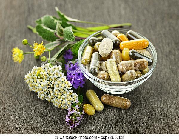 ört medicin, örtar - csp7265783