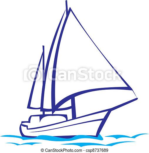 -, silhuett, yacht, sjögång res - csp8737689