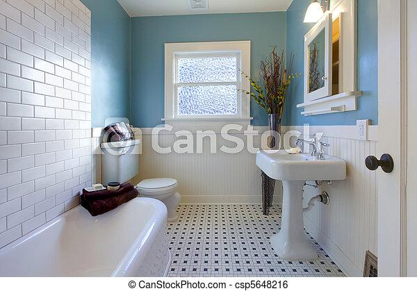 antikvitet, blå, badrum, design, lyxvara - csp5648216