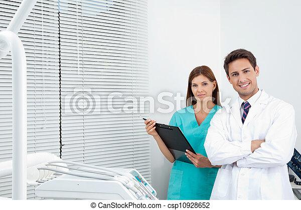 assistent, dental, klinik, kvinna läkare - csp10928652