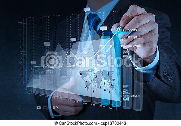 begrepp, affär, arbete, nymodig, hand, dator, affärsman, färsk, strategi - csp13780443