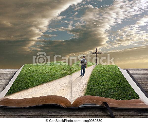 bibel, öppna, kors, man - csp9980580