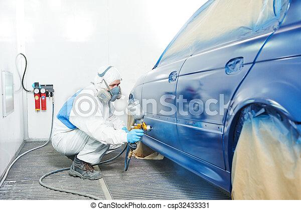 bil, målning, arbetare, kropp, bil - csp32433331