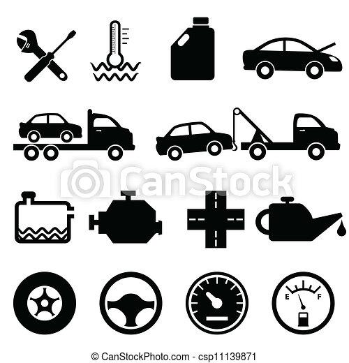 bil, mekaniker, underhåll, ikonen - csp11139871
