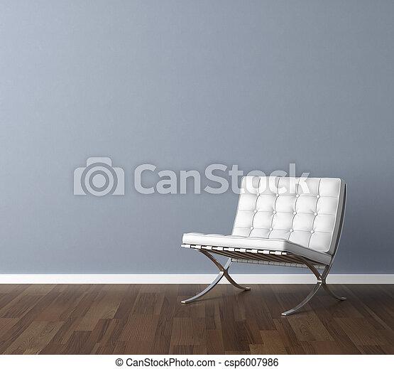 blå vägg, design, inre, vit, stol - csp6007986