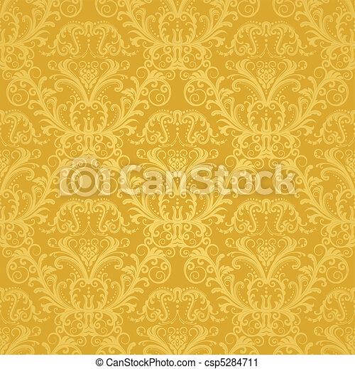 blommig, gyllene, tapet, lyxvara - csp5284711