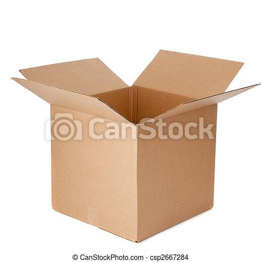 boxas, papp, öppna, tom - csp2667284