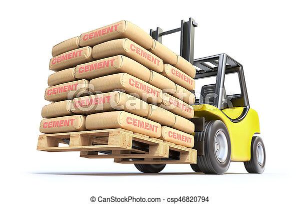 cement, gaffeltruck, sparken - csp46820794