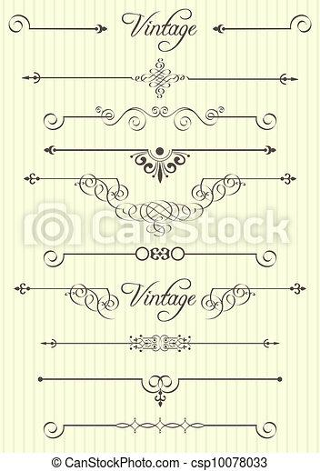 dekor, elementara, design, sida, calligraphic - csp10078033