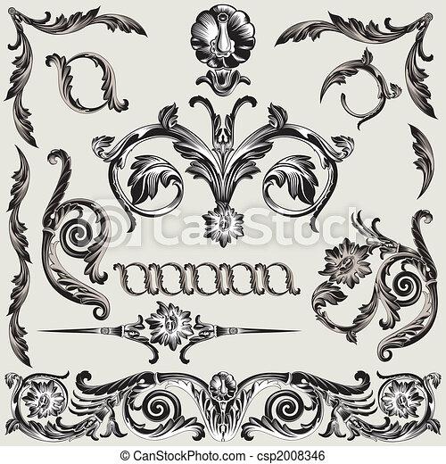 dekoration, blommig, sätta, elementara, klassisk - csp2008346