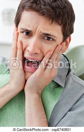 dental, klinik, rädd, man - csp6740801