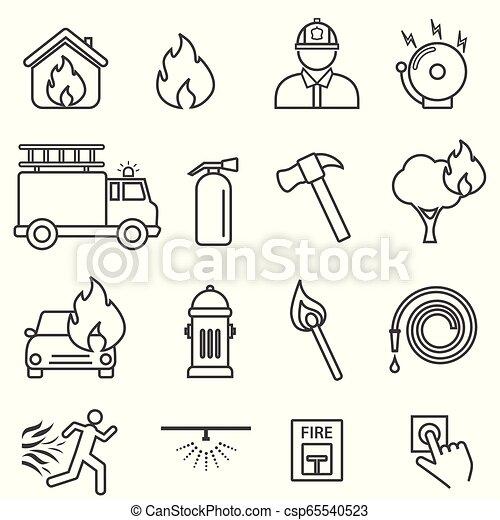 eld, fodra, sätta, ikon - csp65540523