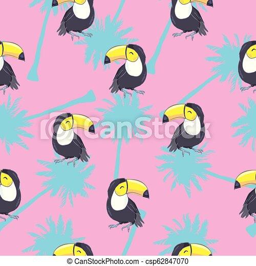 exotisk, mönster, bladen, tukaner, seamless, illustration, tropisk, vektor, pineapples. - csp62847070