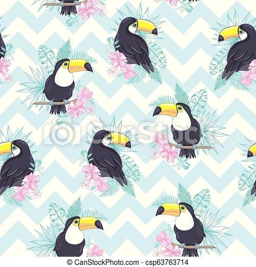exotisk, mönster, bladen, tukaner, seamless, illustration, tropisk, vektor, pineapples. - csp63763714