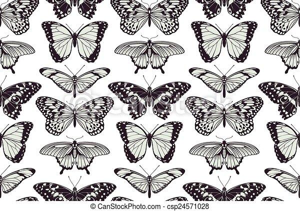 fjäril, årgång, seamless, bakgrund - csp24571028