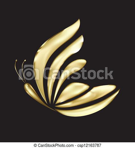 fjäril, logo, vektor, lyxvara, guld - csp12163787