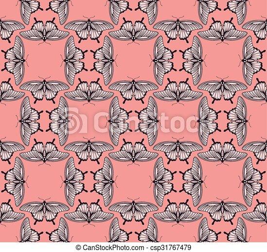 fjäril, mönster, bakgrund - csp31767479