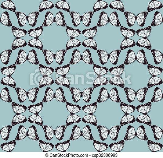 fjäril, mönster, bakgrund - csp32308993