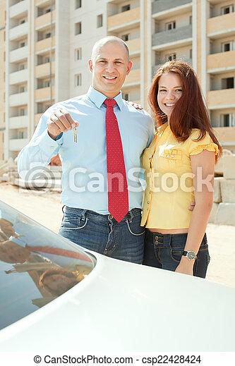 främre del, hem, par, lycklig, färsk - csp22428424