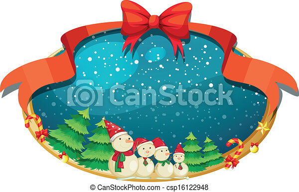fyra, dekor, snowmen, jul - csp16122948