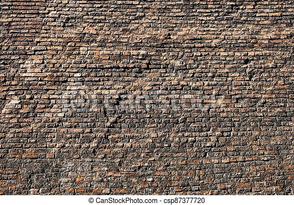 gammal, bakgrund, mycket, struktur, tegelsten vägg - csp87377720