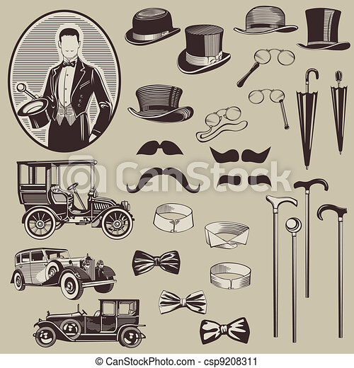 gentlemen's, gammal, bilar, -, tillbehör, hög, vektor, set-, kvalitet - csp9208311