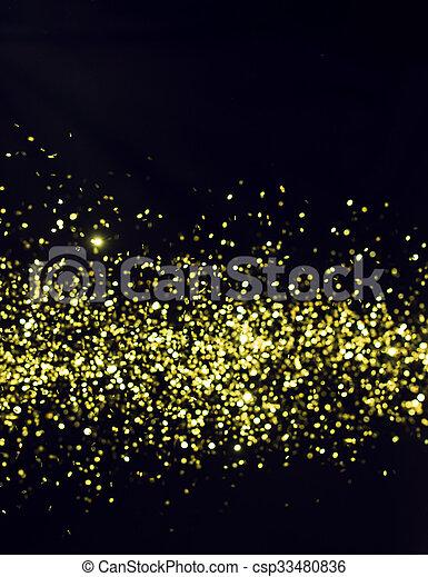 glitter, bakgrund., explosion, helgdag, svart, guldgul fond, foto, confetti. - csp33480836