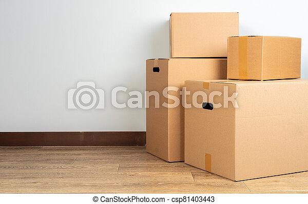 golv, grupp, rutor, kartong, brun, trä - csp81403443