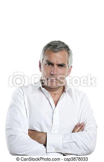 grå, ilsket, hår, allvarlig, affärsman, äldre bemanna - csp3878033