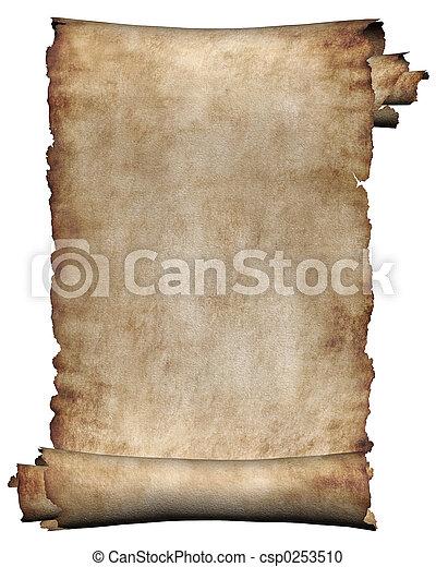 grov, manuskript, rulle, pergament - csp0253510