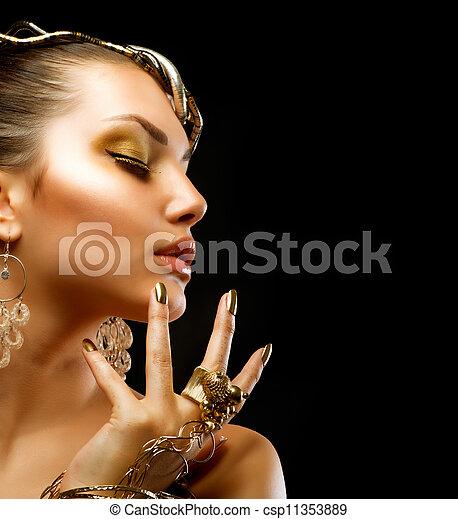 gyllene, mode, makeup., lyxvara, stående, flicka - csp11353889
