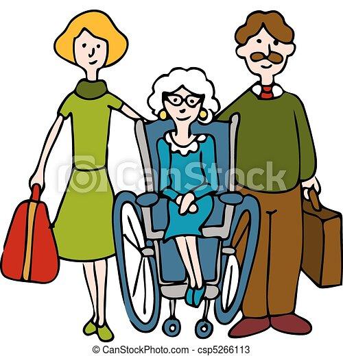 hem, senior, gripande, sjukvård - csp5266113