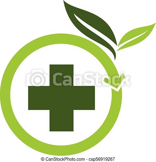 herbal, vektor, design, mall, medicin, logo - csp56919267