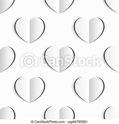 hjärta, valentinkort, seamless, papper, bakgrund, vit - csp64765561