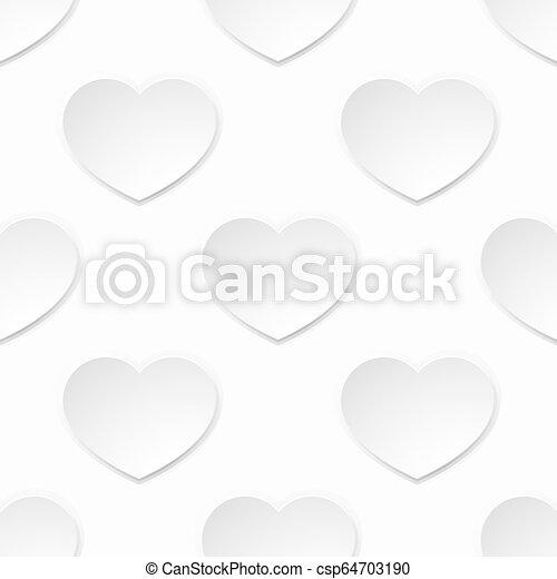 hjärta, valentinkort, seamless, papper, bakgrund, vit - csp64703190