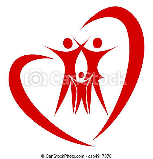 hjärta, vektor, familj - csp4917370