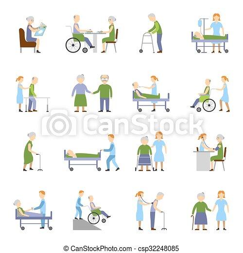 ikonen, folk, sätta, äldre, sjukvård - csp32248085