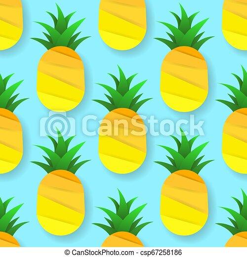 illustration., mönster, seamless, tropisk, vektor, pineapples. - csp67258186
