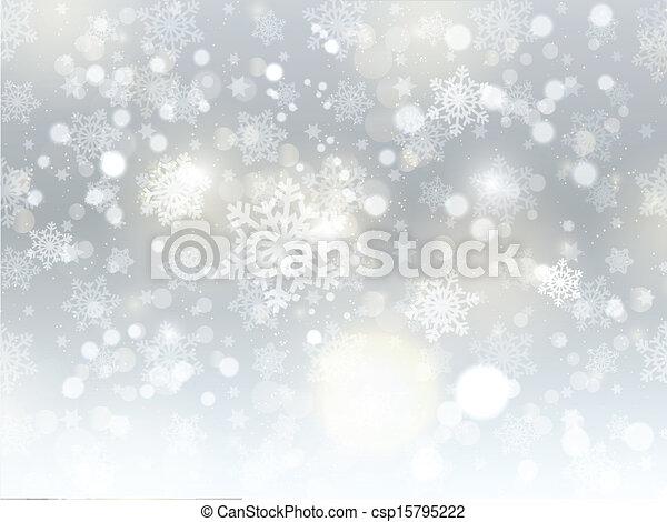 jul, bakgrund, snöflinga - csp15795222
