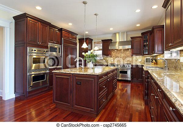 körsbär, ved, cabinetry, kök - csp2745665