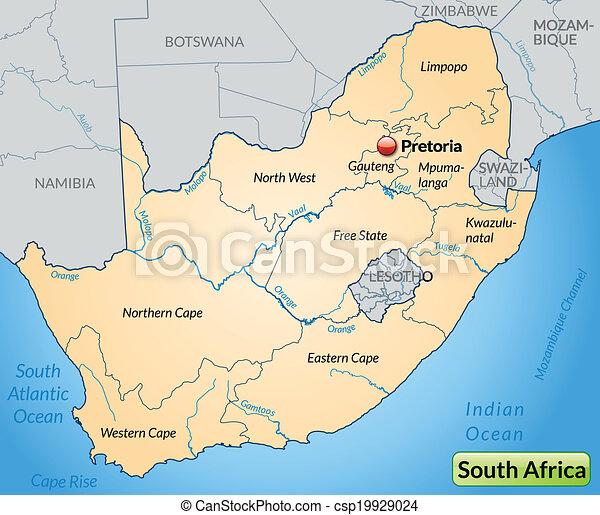 karta, afrika, syd - csp19929024