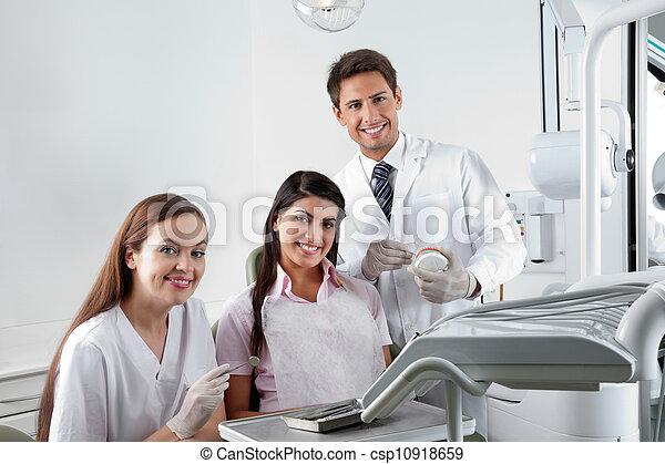 klinik, tålmodig, tandläkare, sköta - csp10918659