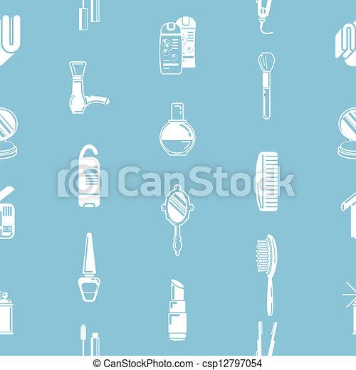 kosmetika, seamless, bakgrund, textu - csp12797054