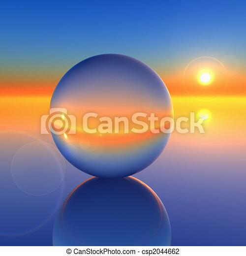 kristall, abstrakt, boll, framtid, horisont - csp2044662