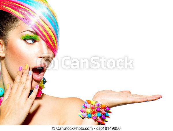 kvinna, färgrik, hår, skönhet, smink, fingernagel, tillbehör - csp18149856