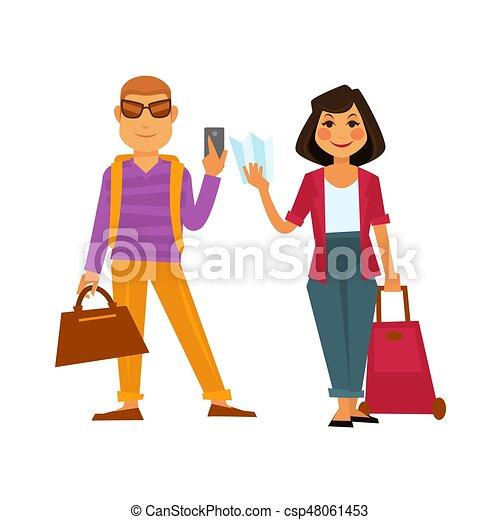 lägenhet, kvinna, folk, res ikon, semester, vektor, helgdag, resa, man - csp48061453