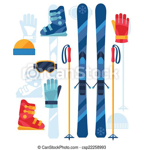 lägenhet, sätta, ikonen, utrustning, design, skidåkning, style. - csp22258993