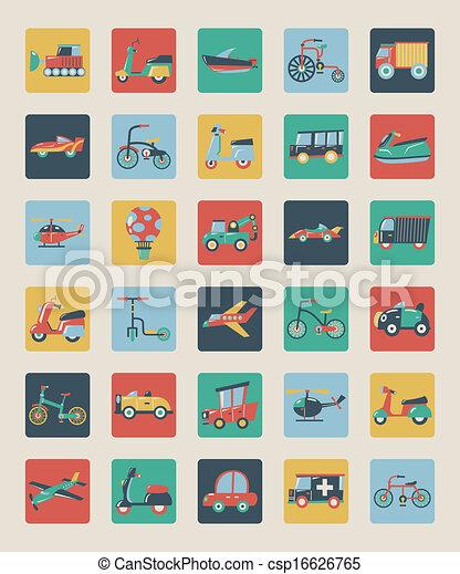 lägenhet, sätta, transport, ikonen - csp16626765