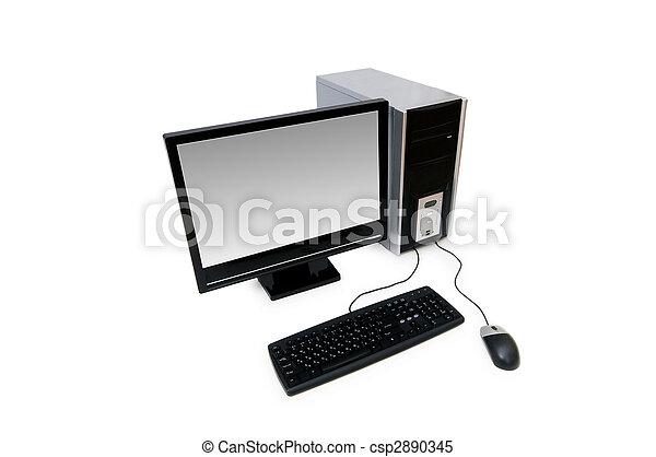 lägenheten avskärmar, dator, isolerat, vit - csp2890345